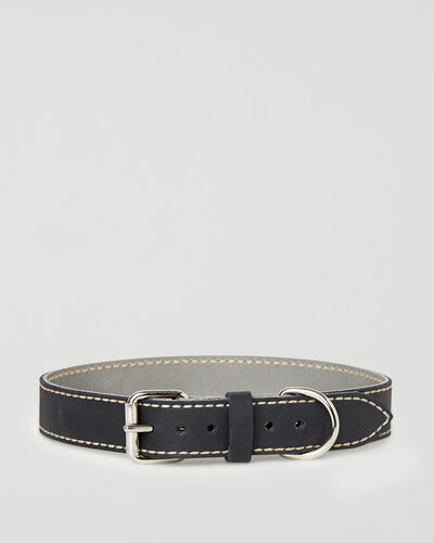 Roots-Leather Dog Accessories-Extra Large Leather Dog Collar-Jet Black-A