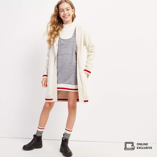 Roots-Kids New Arrivals-Girls Cabin Cozy Cardigan-Birch White-A