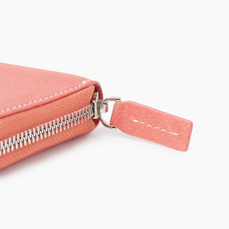 Roots-Leather New Arrivals-Zip Around Clutch Tribe-Coral-E