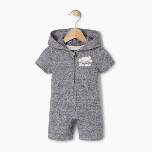 Roots-Kids Our Favourite New Arrivals-Baby Cooper Beaver Kanga Romper-Salt & Pepper-A