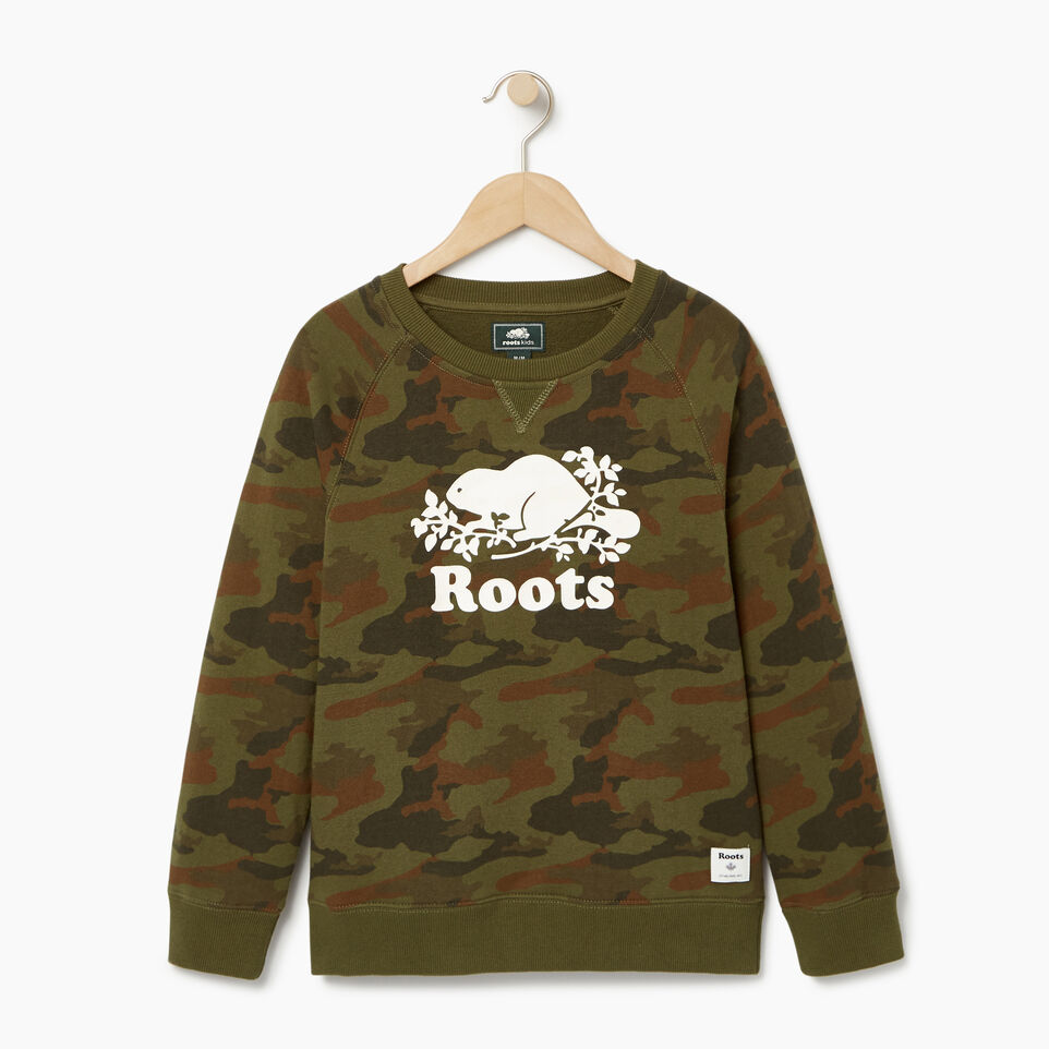Roots-Kids Our Favourite New Arrivals-Boys Camo Sweatshirt-Winter Moss Green-A