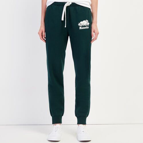 Roots-Women Sweatpants-Original Slim Cuff Sweatpant-Varsity Green-A