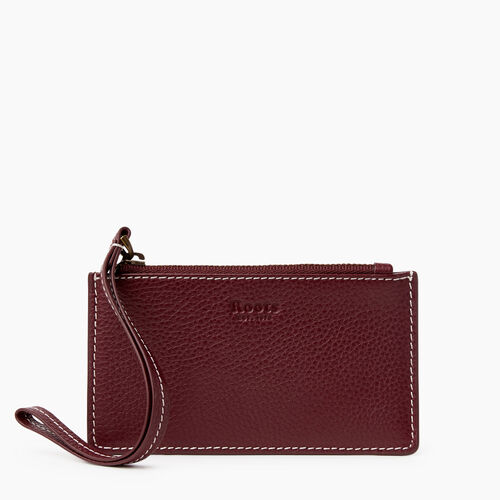 Roots-Leather Leather Accessories-Medium Card Wristlet Cervino-Bordeaux-A