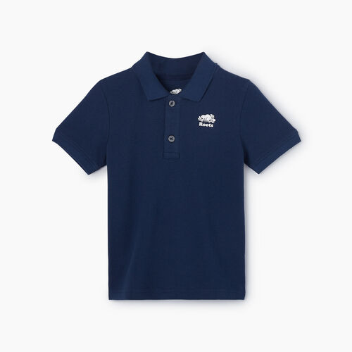 Roots-Kids New Arrivals-Toddler Heritage Pique Polo-Cascade Blue-A