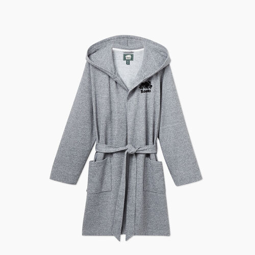 Roots-New For November General Store-Roots Salt and Pepper Hooded Robe-Salt & Pepper-A