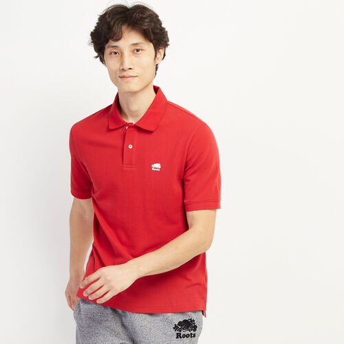 Roots-Men Shirts & Polos-Heritage Pique Polo-Sage Red-A