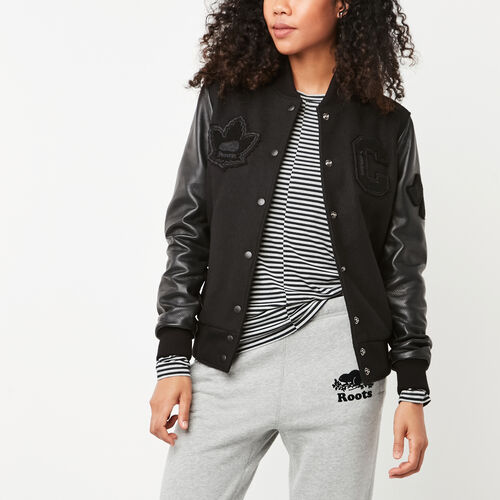 Roots-Leather  Handcrafted By Us Women's Award Jackets-Gretzky Jacket Stealth-Black-A