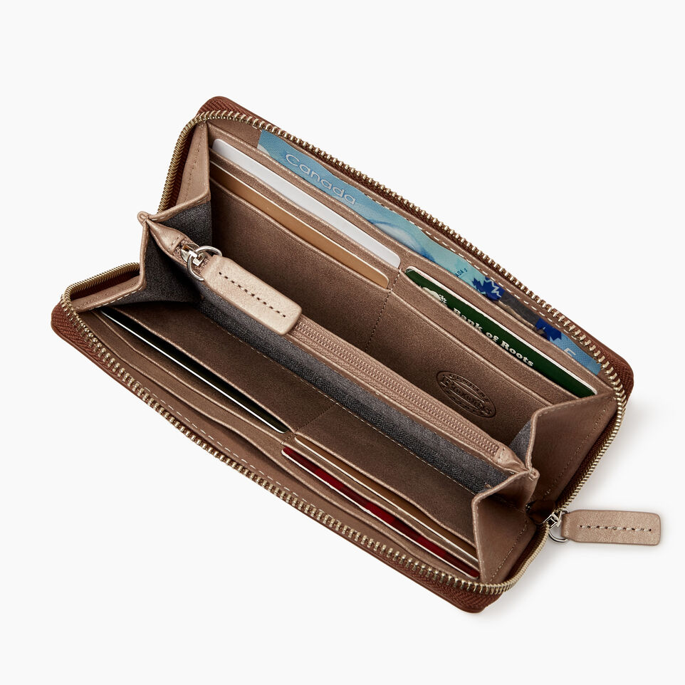 Roots-Leather  Handcrafted By Us Categories-Zip Around Wallet-Champagne/ Natural-C