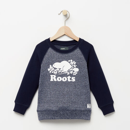 Roots-Clearance Kids-Toddler Original Crewneck Sweatshirt-Navy Blazer Pepper-A