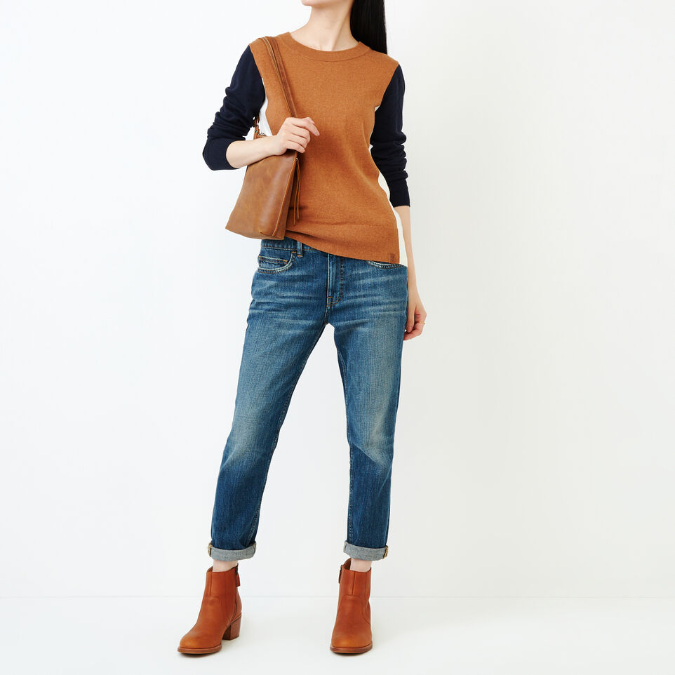 Roots-Women Sweaters & Cardigans-Colour Blocked Sweater-Brown Sugar-B