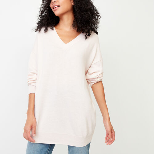 Roots-Winter Sale Women-Dawson V Neck Sweater-Pink Cloud-A