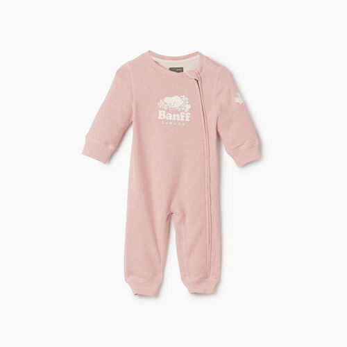 Roots-Kids Rompers & Onesies-Baby Girl Banff Ski City Romper-Dusty Blush-A