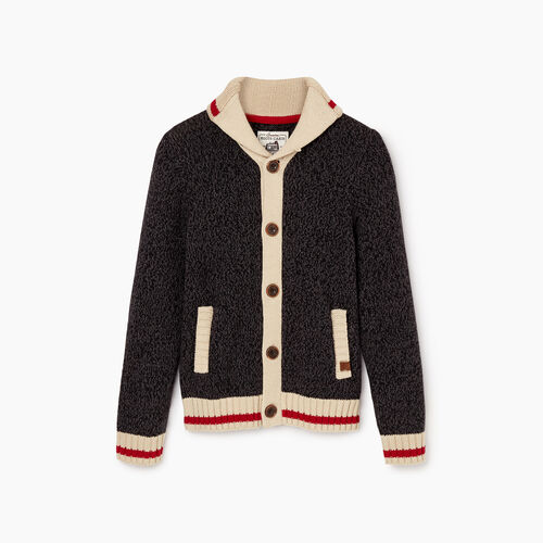 Roots-Clearance Boys-Boys Roots Cabin Shawl Cardigan-Black Mix-A