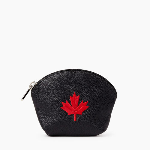 Roots-Leather Leather Accessories-Maple Leaf Euro Pouch Cervino-Black-A