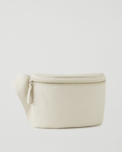 Roots-Leather Leather Bags-Extra Large Belt Bag Cervino-Ivory-A