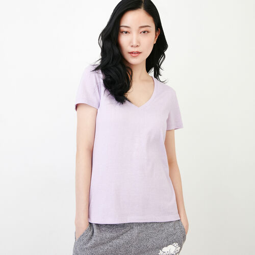 Roots-Clearance Tops-Pepper V Neck T-shirt-Lavendula Pepper-A