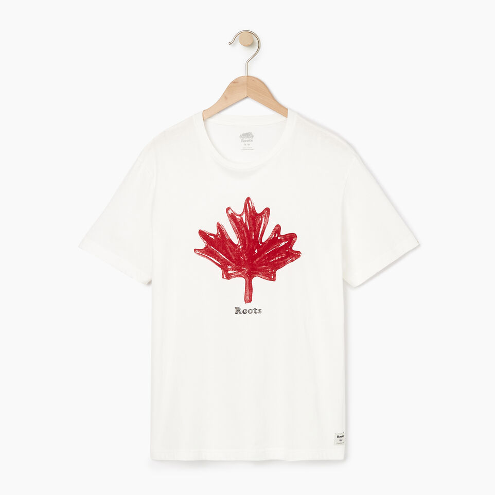 Roots-New For August Men-Mens Vintage Leaf T-shirt-Ivory-A