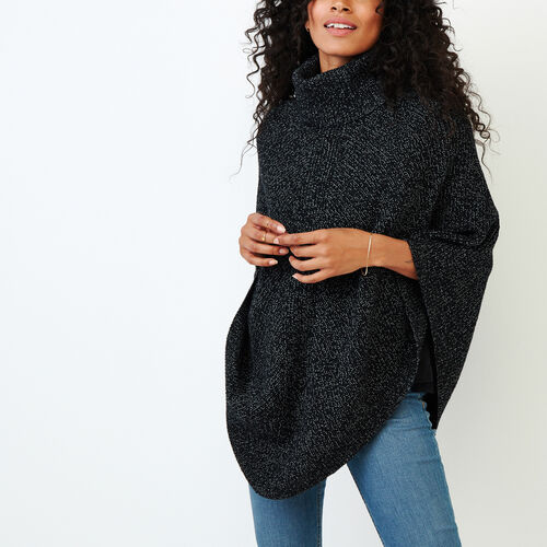 Roots-Women Our Favourite New Arrivals-Snowy Fox Poncho-Black Fox-A