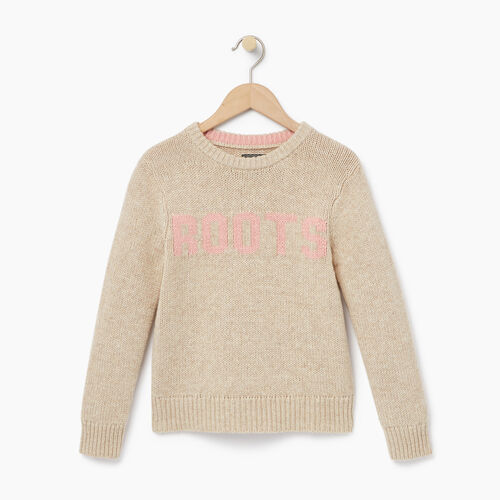 Roots-Kids Our Favourite New Arrivals-Girls Vault Crew Sweater-Flaxseed Mix-A