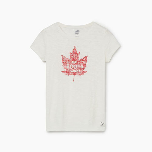 Roots-Women Graphic T-shirts-Womens Canada Maple Leaf T-shirt-Egret-A