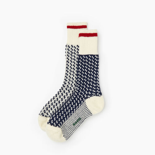 Roots-Women Socks-Roots Cabin 3 Point Sock 2 Pack-Cascade Blue-A
