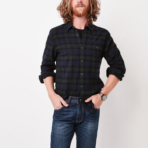 Roots-Sale Tops-Burnaby Flannel Shirt-Navy Blazer-A