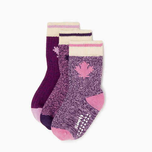 Roots-Clearance Kids-Toddler Maple Sock 3 Pack-Pink-A