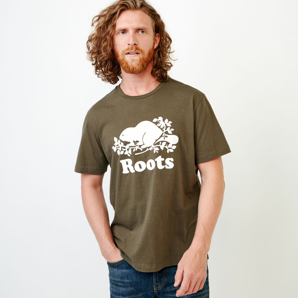 Roots-Men New Arrivals-Mens Cooper Beaver T-shirt-Fatigue-C