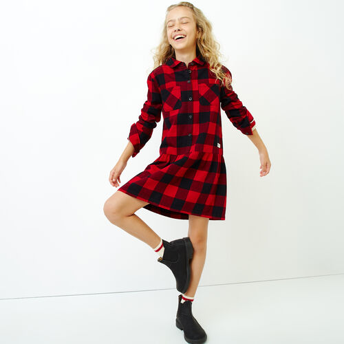 Roots-Sale Kids-Girls Park Plaid Dress-Lodge Red-A