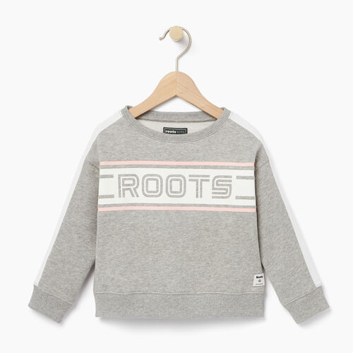 Roots-Kids Tops-Toddler Sportsmas Crew Sweatshirt-Grey Mix-A