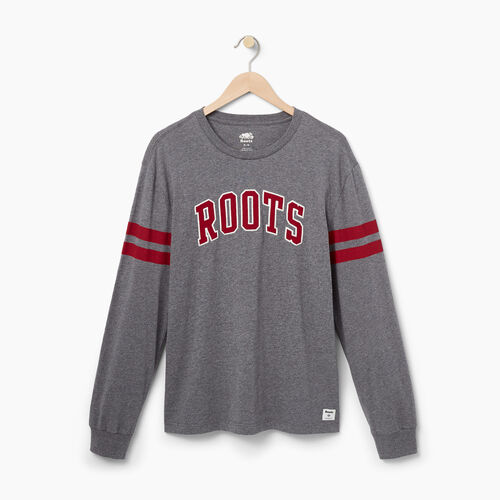 Roots-Men Graphic T-shirts-Mens Roots Arch Longsleeve T-shirt-Med Grey Mix-A