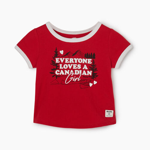 Roots-Kids Baby-Baby Canadian Girl T-shirt-Sage Red-A