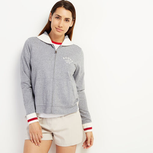 Roots-Sweats Women-Cabin Full Zip Hoody-Light Salt & Pepper-A