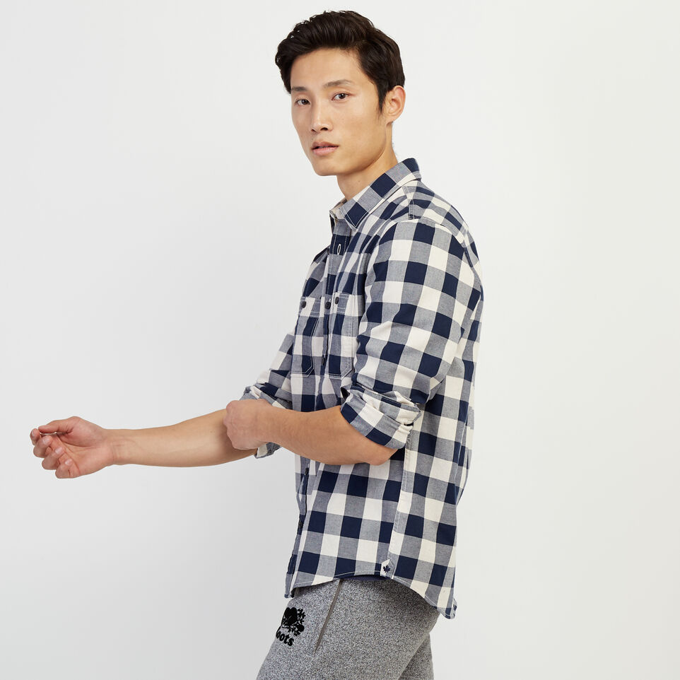 Roots-Men New Arrivals-Lightweight Park Plaid Shirt-Flaxseed Mix-C