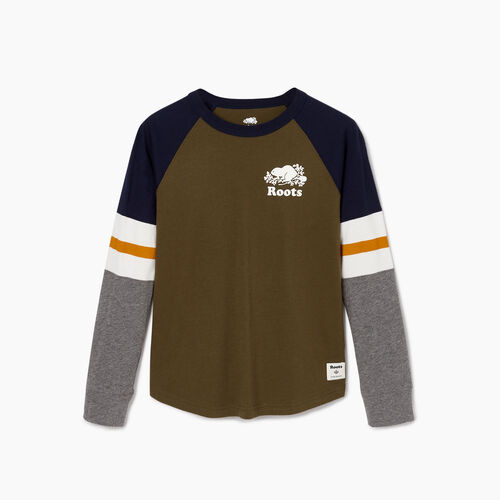 Roots-Kids Boys-Boys Cooper Beaver Raglan T-shirt-Fatigue-A