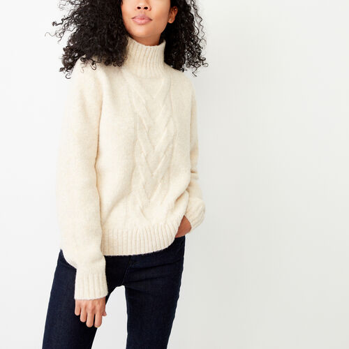 Roots-Winter Sale Women-Nita Cable Sweater-Light Oatmeal Mix-A
