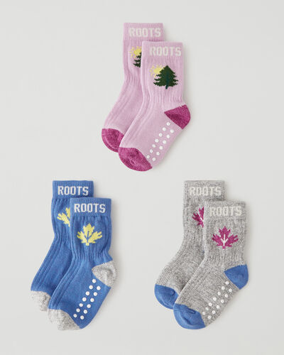 Roots-Kids Toddler Boys-Toddler Camp Sock 3 Pack-Pink Mix-A