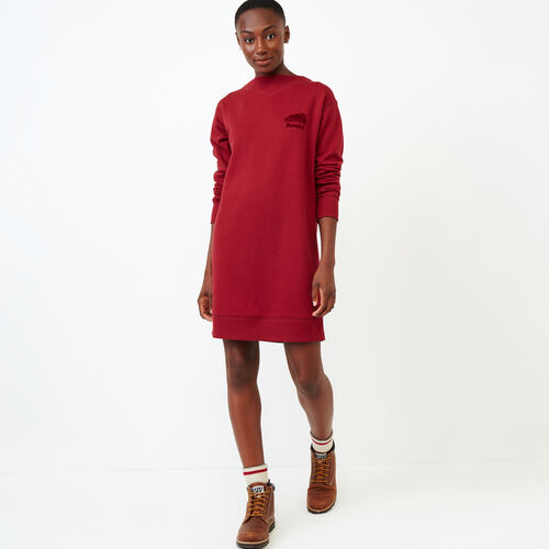 Roots-Women Our Favourite New Arrivals-Chevron Dress-Tibetan Red-A