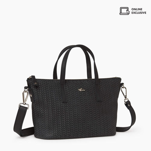 Roots-Leather New Arrivals-Small Zoe Bag Woven-Jet Black-A
