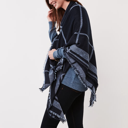 Roots-Sale Over 40% Off-Kelli Blanket Scarf-Cascade Blue-A