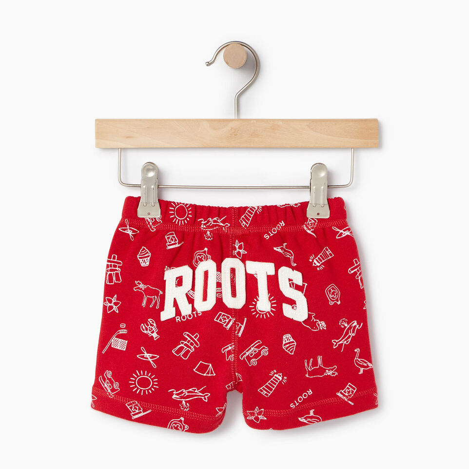 Roots-Kids Our Favourite New Arrivals-Baby Canada Roots Aop Short-Sage Red-B