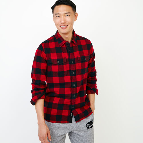 Roots-Men Our Favourite New Arrivals-Park Plaid Shirt-Cabin Red-A