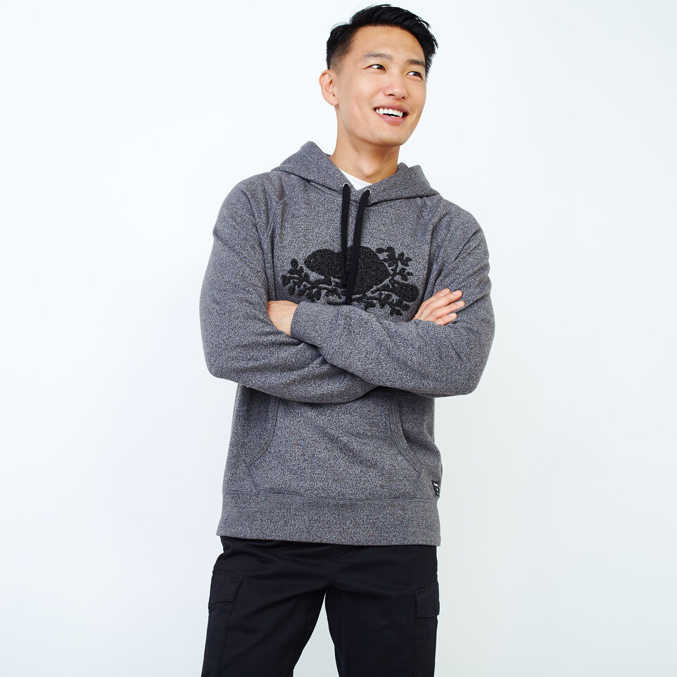 Roots-Men Our Favourite New Arrivals-Chenille Kanga Hoody-Charcoal Pepper-A