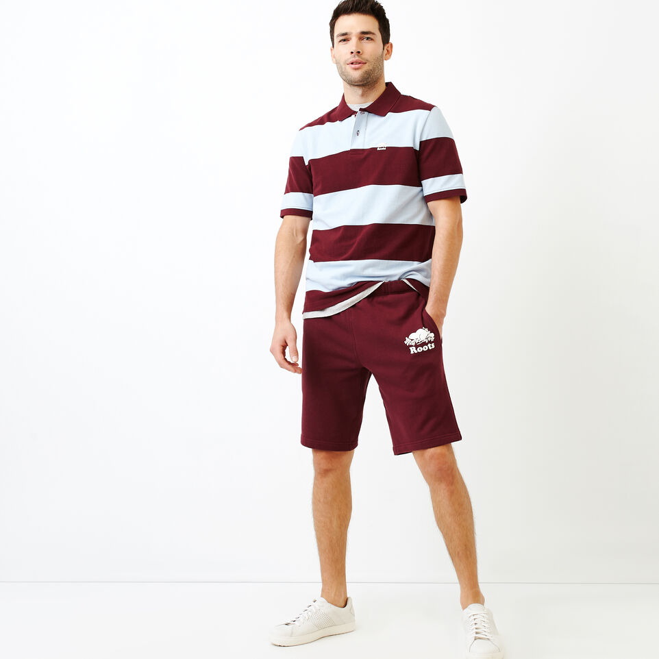 Roots-Men Categories-Heritage Striped Pique Polo-Northern Red-B