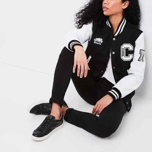 Roots-Leather  Handcrafted By Us Women's Award Jackets-Award Jacket Navigator-Black & White-A
