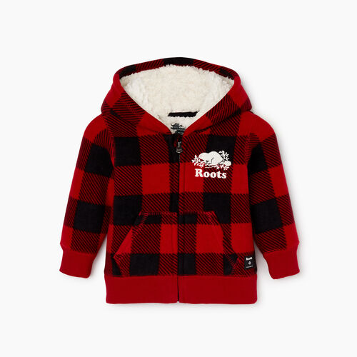 Roots-Kids Baby Girl-Baby Park Plaid Sherpa Lined Hoody-Cabin Red-A