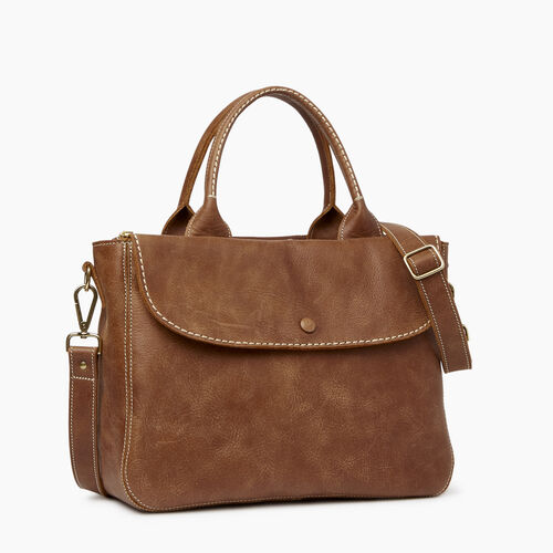 Roots-Leather  Handcrafted By Us Collections-Riverdale Tote-Natural-A