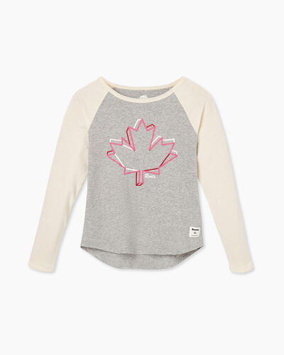 Roots-Kids Tops-Girl Canadian Maple T-shirt-Grey Mix-A