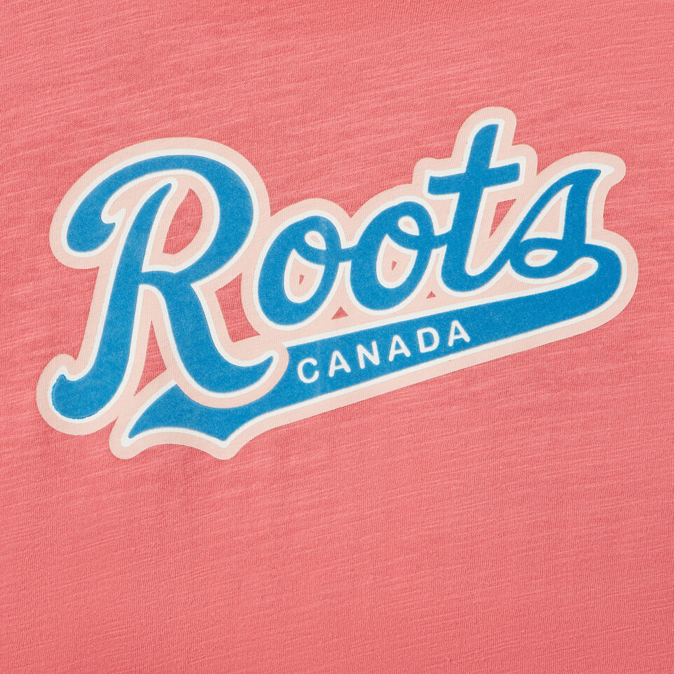 Roots-Kids Our Favourite New Arrivals-Girls Roots Script T-shirt-Coral-D