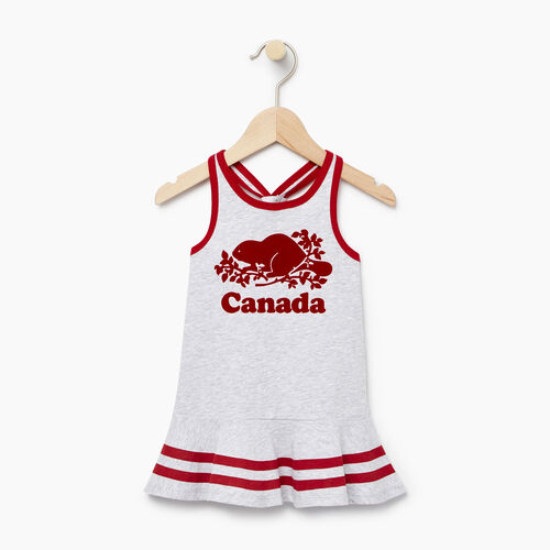 Roots-Kids Baby Girl-Baby Canada Tank Dress-Snowy Ice Mix-A